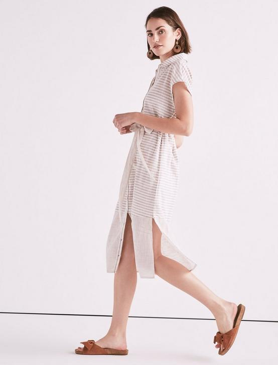 STRIPE SHIRT DRESS, NATURAL MULTI, productTileDesktop