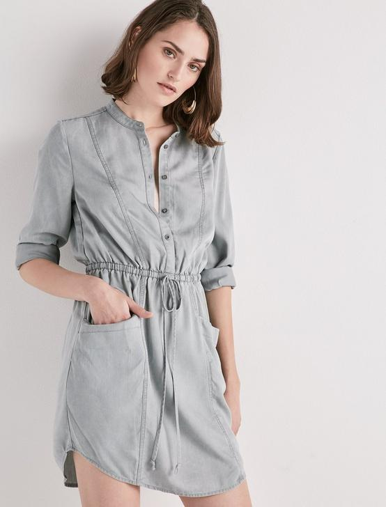 TENCEL SHIRT DRESS, WASHED BLACK, productTileDesktop
