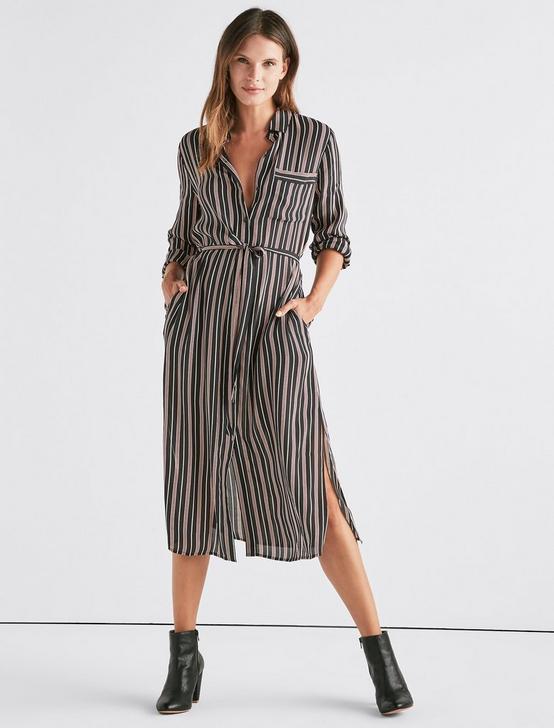 STRIPE SHIRT DRESS, BLACK MULTI, productTileDesktop
