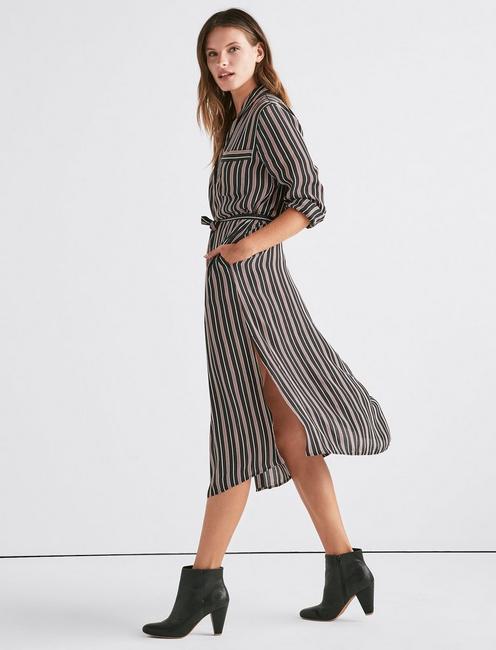 STRIPE SHIRT DRESS, BLACK MULTI