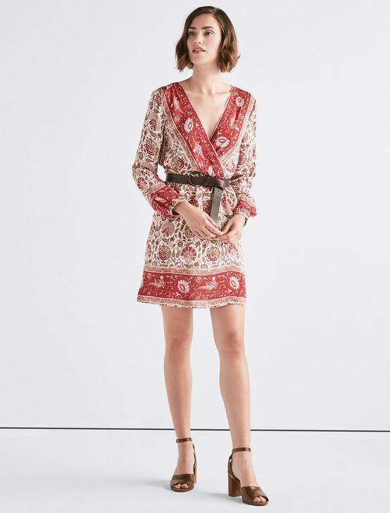 BORDER WRAP DRESS, RED MULTI, productTileDesktop