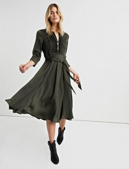 EMBROIDERED SATIN DRESS, FOREST NIGHT
