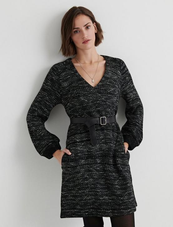 SWEATER SHIFT DRESS, BLACK MULTI, productTileDesktop