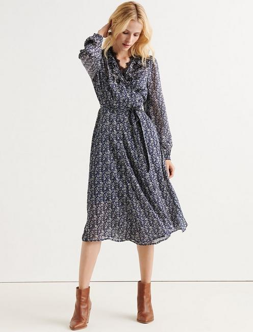 PRINTED WRAP DRESS,