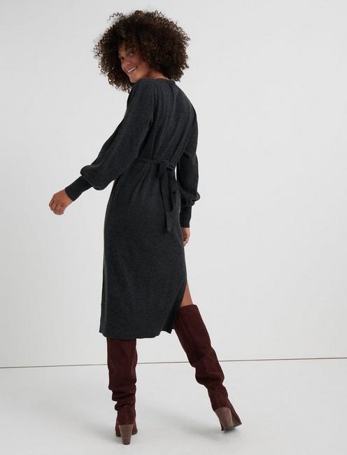 V NECK SWEATER DRESS, CHARCOAL