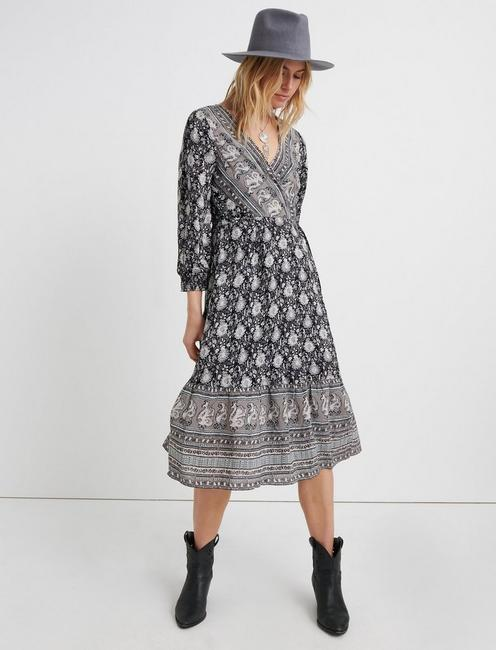 Paisley Border Print Wrap Dress