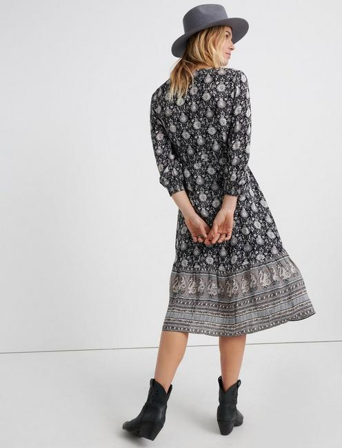 PAISLEY BORDER PRINT WRAP DRESS, BLACK MULTI
