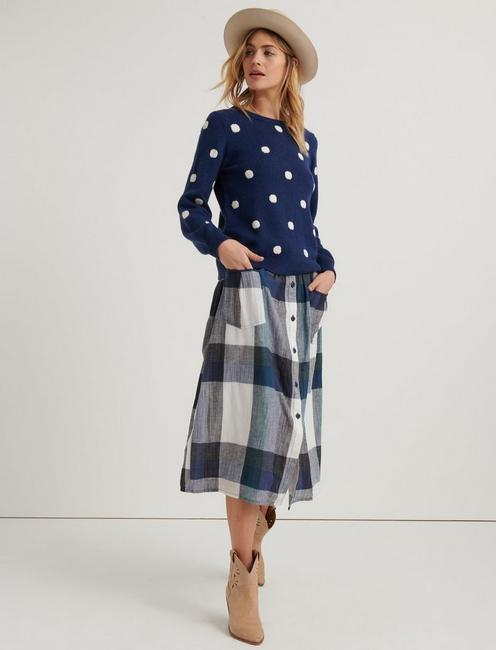 3765631b63 Plaid Button Front Skirt