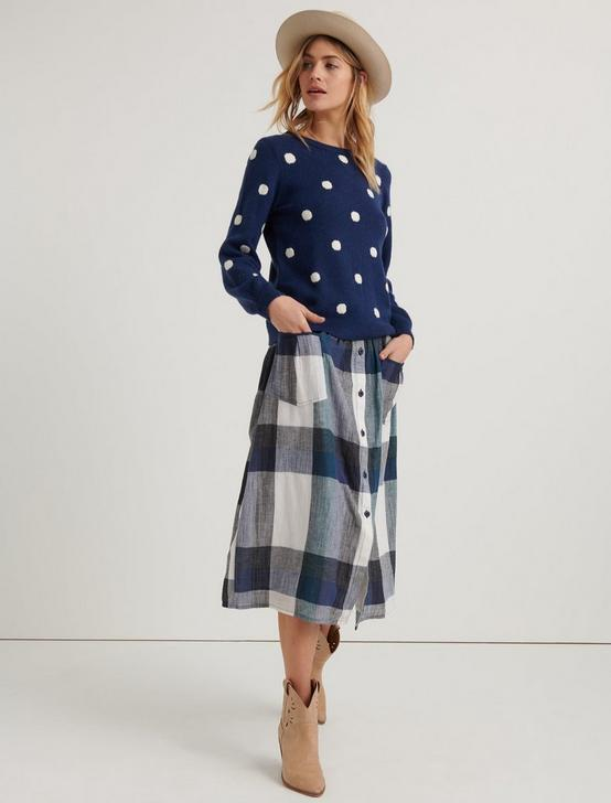 PLAID BUTTON FRONT SKIRT, BLUE MULTI, productTileDesktop