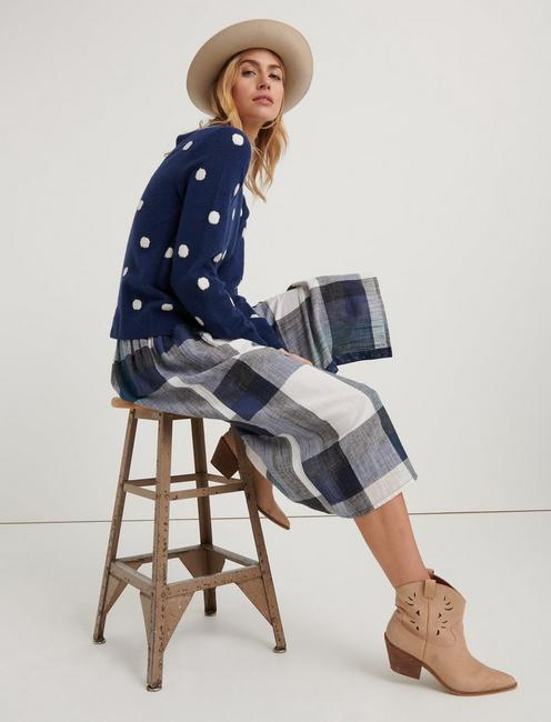 PLAID BUTTON FRONT SKIRT, BLUE MULTI