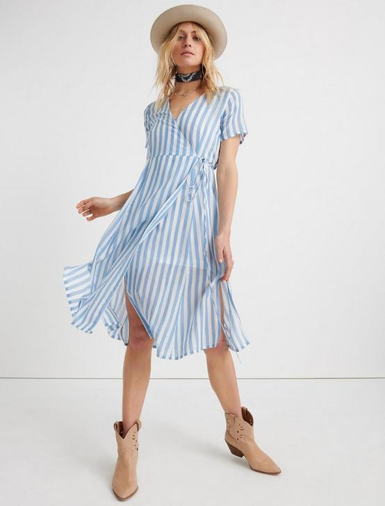 BOLD STRIPE WRAP DRESS, BLUE MULTI, productTileDesktop