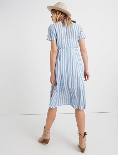 BOLD STRIPE WRAP DRESS, BLUE MULTI