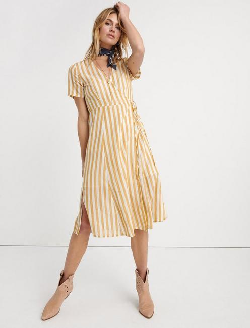 Bold Stripe Wrap Dress