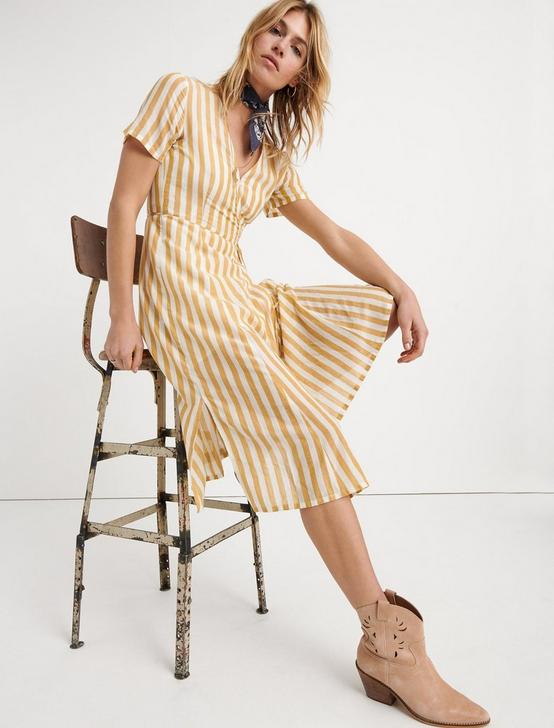 BOLD STRIPE WRAP DRESS, YELLOW MULTI, productTileDesktop