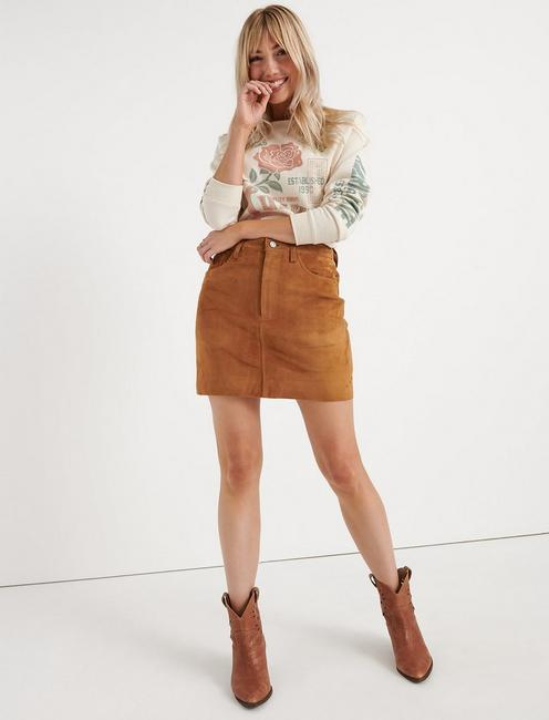 SUEDE MINI SKIRT,
