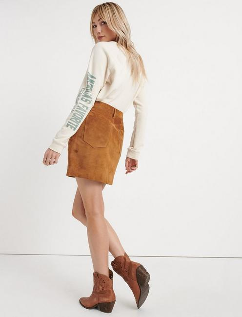 SUEDE MINI SKIRT, TAN