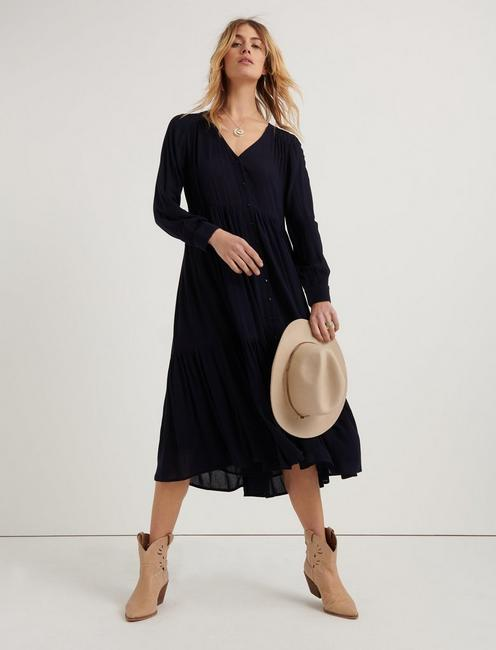 BUTTON FRONT MAXI DRESS, AMERICAN NAVY