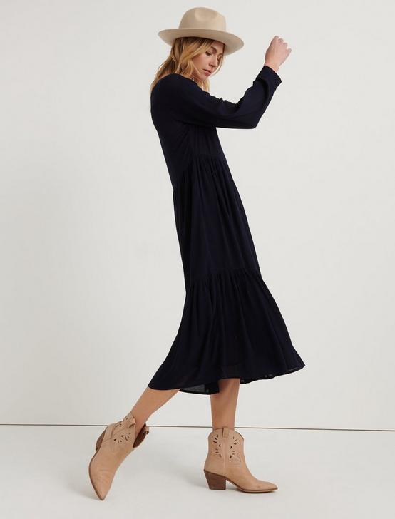 BUTTON FRONT MAXI DRESS, AMERICAN NAVY, productTileDesktop