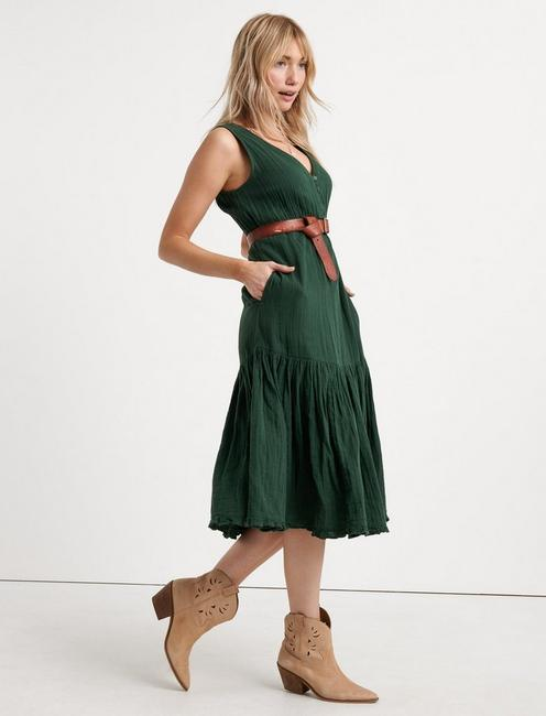 SOLID HENLEY TIERED DRESS, SYCAMORE