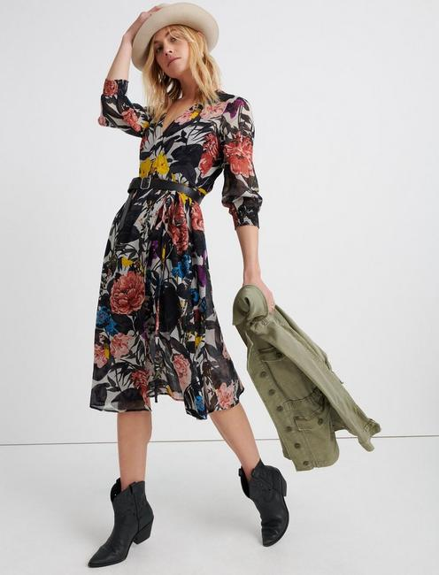 Abstract Floral Wrap Dress.