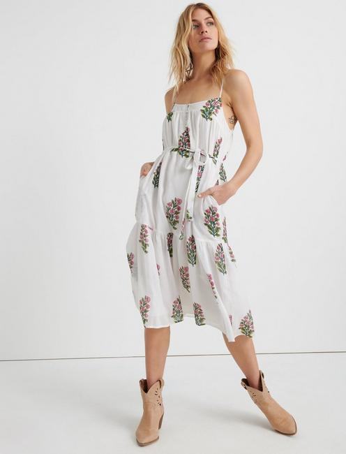 Floral Woodblock Tiered Dress