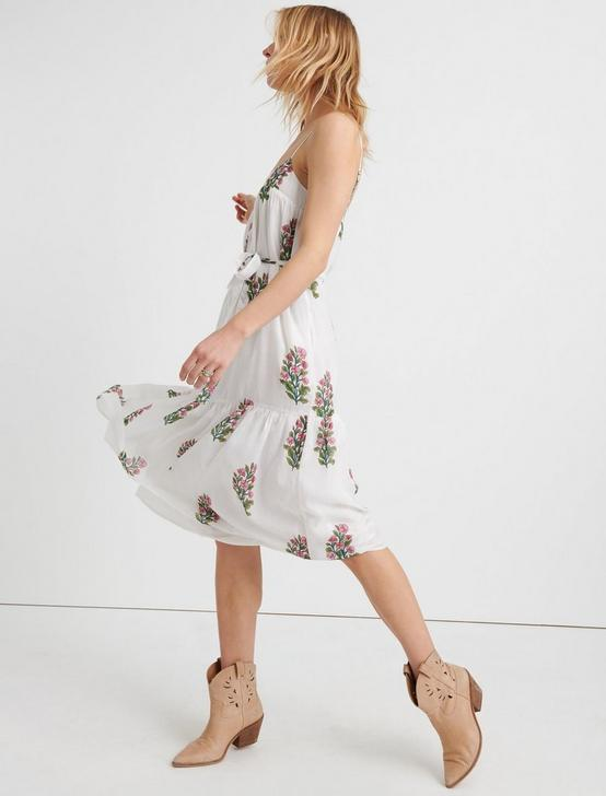 FLORAL WOODBLOCK TIERED DRESS, WHITE MULTI, productTileDesktop