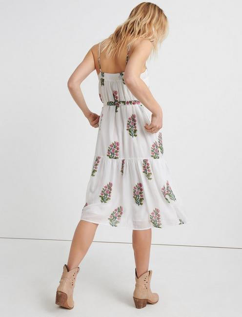 FLORAL WOODBLOCK TIERED DRESS, WHITE MULTI