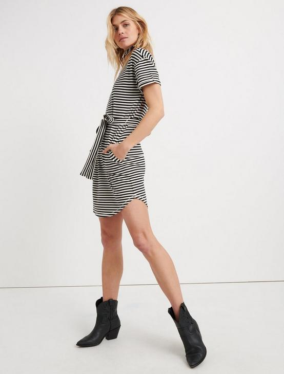 TIE FRONT KNIT DRESS, BLACK STRIPE, productTileDesktop