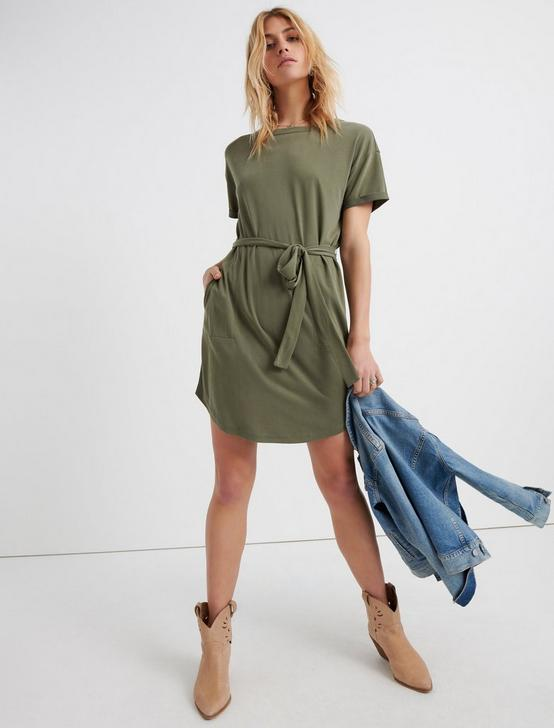 TIE FRONT KNIT DRESS, IVY GREEN, productTileDesktop