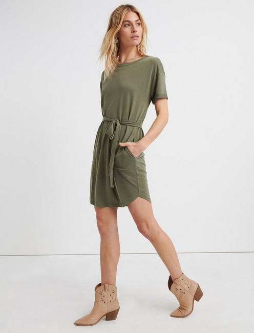 TIE FRONT KNIT DRESS, IVY GREEN