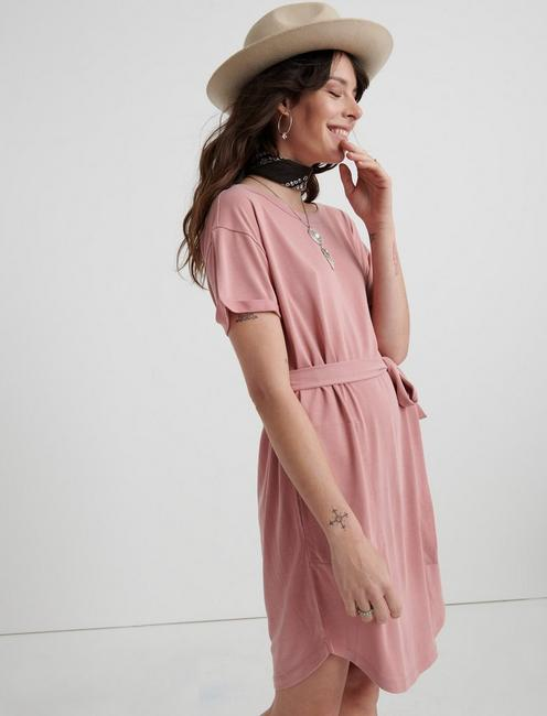 TIE FRONT KNIT DRESS, #6516 DUSTY ROSE