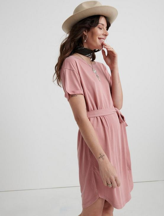 TIE FRONT KNIT DRESS, #6516 DUSTY ROSE, productTileDesktop