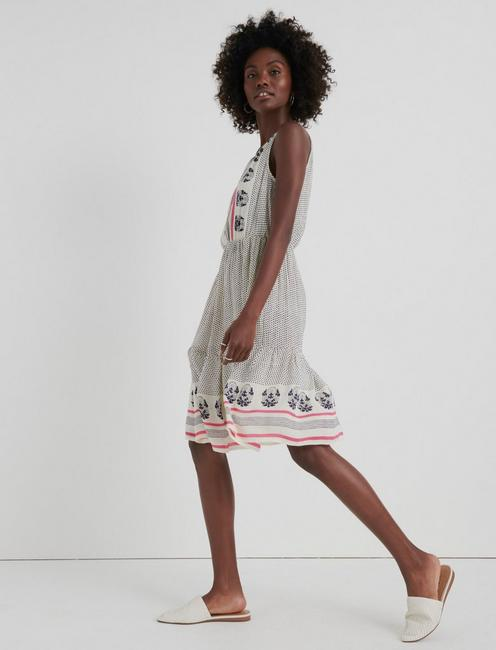 LUNA BORDER PRINT DRESS, NATURAL MULTI