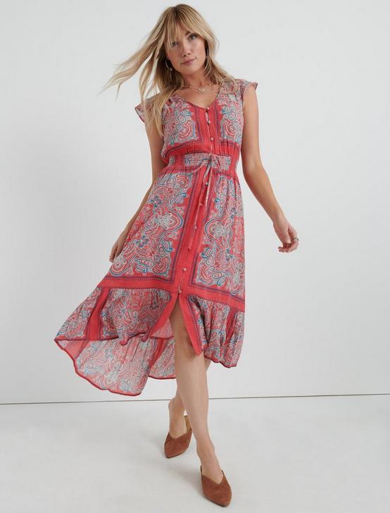 BORDER PRINT FELICE DRESS, RED MULTI, productTileDesktop