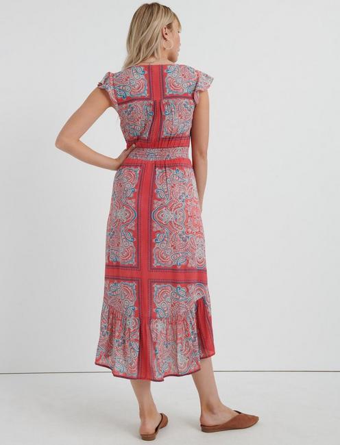 BORDER PRINT FELICE DRESS, RED MULTI