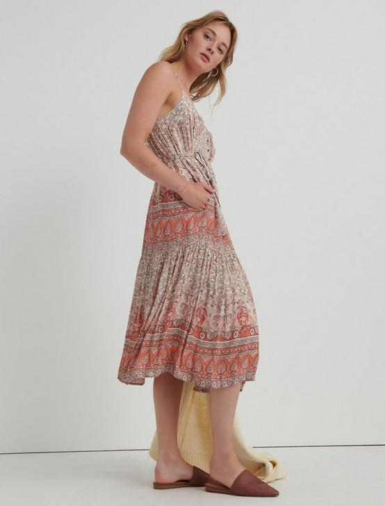 NIKKI MIDI DRESS, CORAL MULTI, productTileDesktop