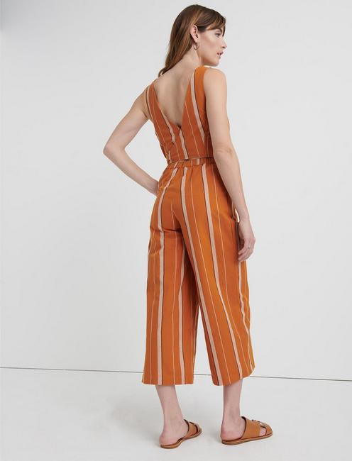 BLAKE STRIPE JUMPSUIT, TAN MULTI