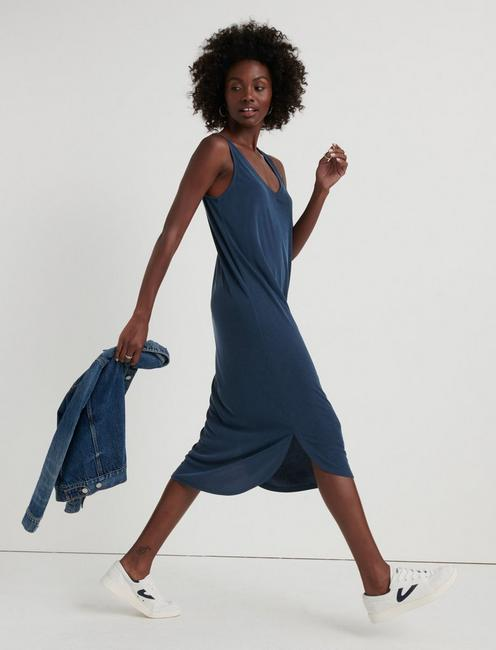 RIBBED SANDWASH TANK DRESS, AMERICAN NAVY