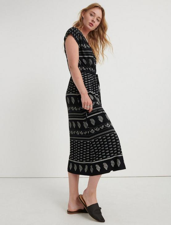 KNIT WRAP DRESS, BLACK MULTI, productTileDesktop