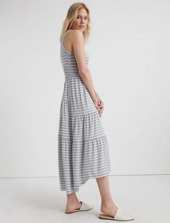 RUCHED MAXI DRESS, GREY STRIPE, productTileDesktop