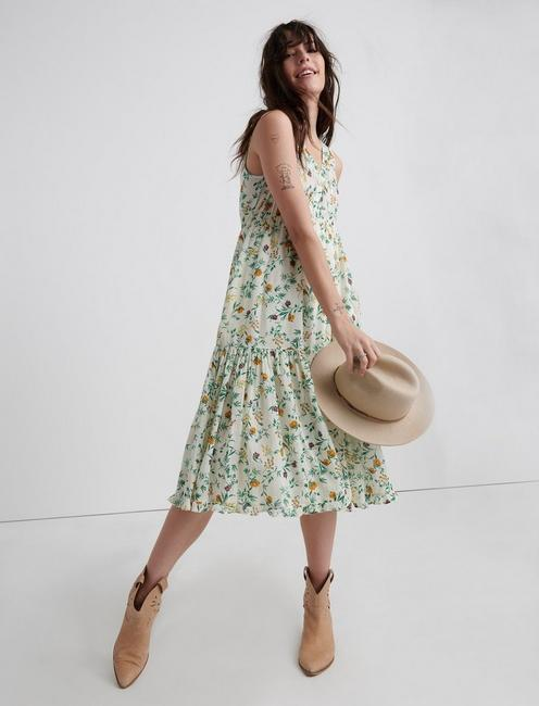 PRINTED HENLEY TIERED DRESS,