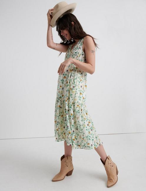 PRINTED HENLEY TIERED DRESS, MULTI