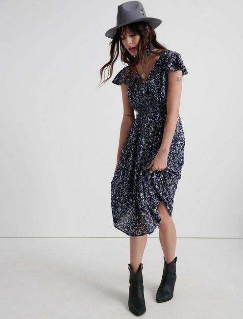 SMOCKED WAIST DRESS, NAVY MULTI