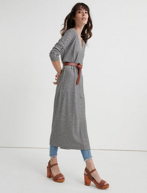 CLOUD JERSEY LONG SLEEVE DRESS, BLACK STRIPE