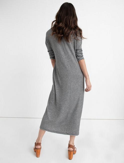 CLOUD JERSEY LONG SLEEVE DRESS, BLACK STRIPE