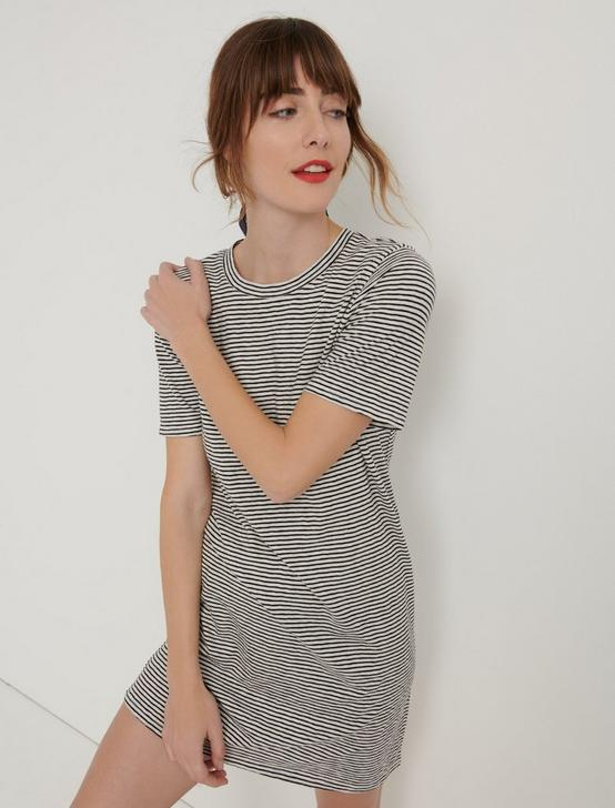 THE SUMMER TEE DRESS, BLACK STRIPE, productTileDesktop
