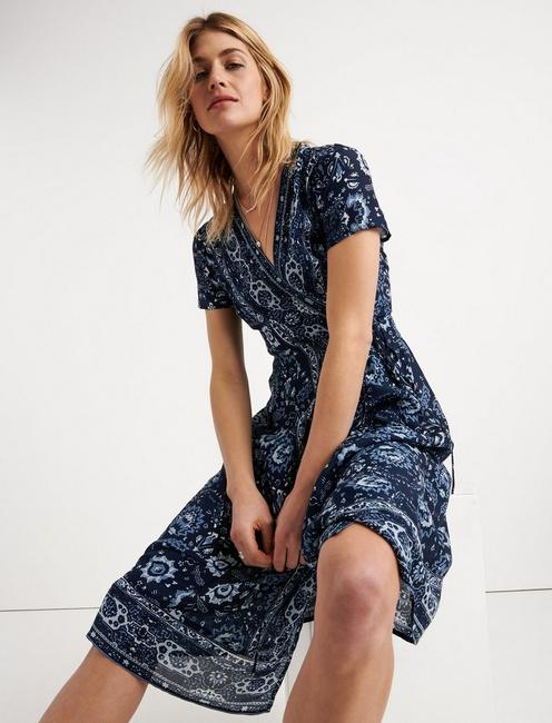 ASHLEY WRAP DRESS, BLUE MULTI