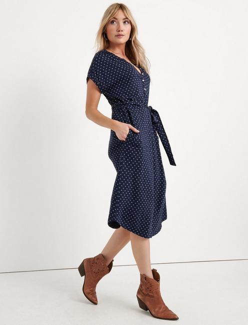 KNIT HENLEY DRESS, BLUE MULTI