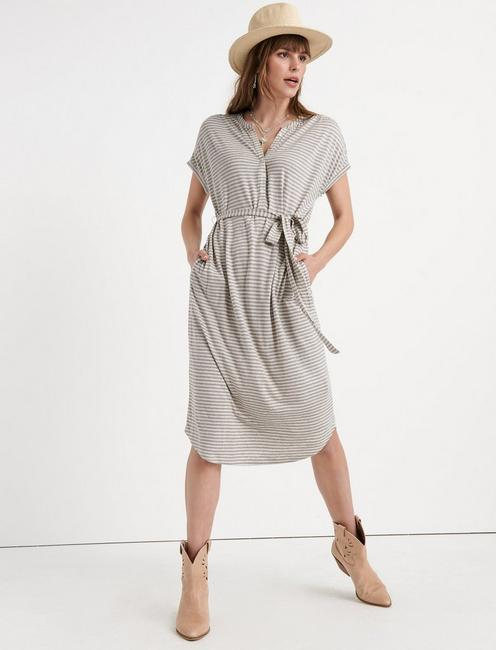 KNIT HENLEY DRESS, GREY STRIPE