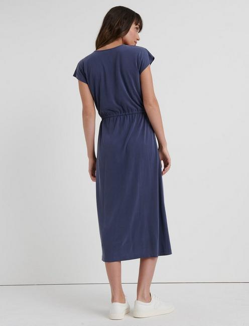KNIT WRAP DRESS, AMERICAN NAVY